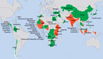 Thumbnail of Centers for Disease Control and Prevention public health emergency management (PHEM) engagements, 2008–2016. Red indicates Global Health Security Agenda PHEM engagement; green indicates other PHEM engagement; gray indicates no PHEM engagement.