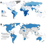 Thumbnail of Worldwide cervical cancer incidence and human papillomavirus (HPV) vaccination status. A) Estimated cervical cancer incidence rates per 100,000 persons in 2012. Source: GLOBOCAN, 2012, WHO. B) Progress in HPV vaccine introduction in national immunization programs, 2016. Source: WHO, 2016. Many countries with high cervical cancer incidence rates (primarily countries in sub-Saharan Africa, Asia, and a few in Latin America) have not yet introduced HPV vaccination in their national immu