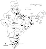 Thumbnail of States of birth for 73 varicella case-patients at a private university in Chennai, India, February 2016–January 2017. Each triangle indicates 1 case. Incidence of varicella (per 1,000 students) by state of birth: Odisha, 16.0; Uttar Pradesh, 9.8; Andhra Pradesh, 2.1; Tamil Nadu, 1.8; other, 3.3.