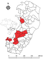 Thumbnail of Locations (red shading) of nonhuman primates that died of yellow fever, Espirito Santo, Brazil, January 2017. Inset shows location of Espirito Santo (light gray shading) and 4 other states within Brazil. GO, Goias; MG, Minas Gerais; MT, Mato Grosso do Sul; SP, São Paulo states.