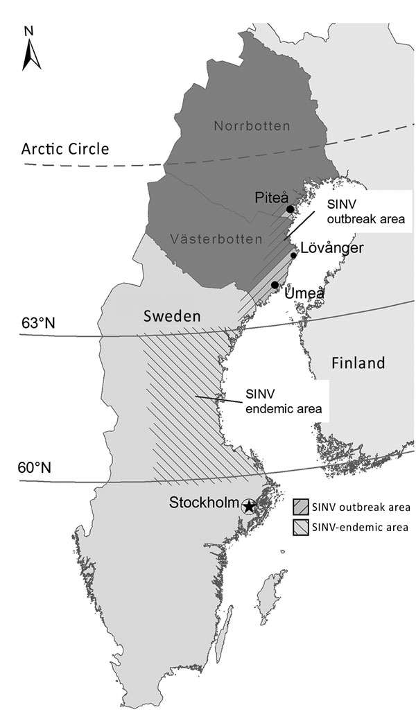 Geographic distribution of the SINV outbreak in 2013 and previous occurrence of SINV infections in Sweden. Dark gray indicates the 2 northernmost counties in Sweden where the SINV IgG seroprevalence was 2.9% in 2009. SINV, Sindbis virus.