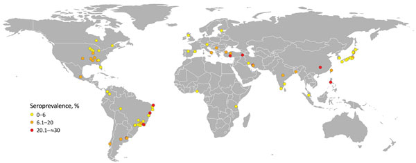Locations of published Brucella canis serologic surveys of dogs (online Technical Appendix, https://wwwnc.cdc.gov/EID/article/24/8/17-1171-Techapp1.pdf). Each dot represents 1published study; colors represent seroprevalence determined in each study. Cartography: Cecilia Smith.