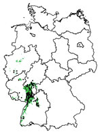 Thumbnail of Areas suitable (green) and unsuitable (white) for Usutu virus (USUV) in Germany derived from 300 boosted regression tree models. Black dots denote sites with dead birds detected positive for USUV.
