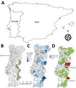 Thumbnail of Choropleth maps for spatial study of bovine tuberculosis (TB) in wildlife, Portugal. A) Iberian Peninsula. B) Official surveillance area for bovine TB in large game species. Red numbers indicate historical population refuges of wild ungulates: 1) Gerês, 2) Montesinho, 3) Malcata, 4) São Mamede, and 5) left bank of the Guadiana River. C) Distribution of serologic samples analyzed per county. D) Distribution of bovine TB–positive samples. Black circles indicate the 2 clusters identifi
