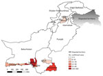 Thumbnail of Geographic distribution of chikungunya-positive cases in Pakistan, December 20, 2016–May 31, 2017. AJK, Azad Jammu and Kashmir; FATA, Federally Administered Tribal Areas.