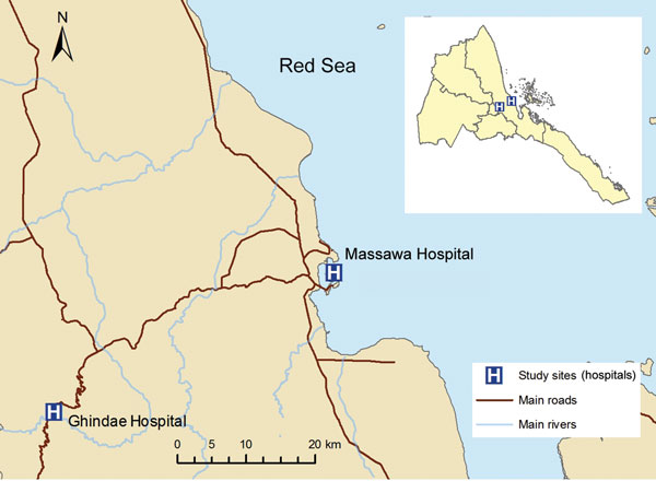 Location of study sites at Ghindae and Massawa Hospitals, Eritrea, for analysis of a major threat to malaria control programs by Plasmodium falciparum lacking histidine-rich protein 2. Inset shows Eritrea.