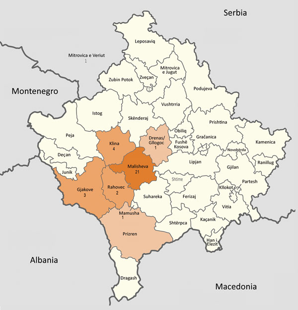 Municipalities (komunë) in Kosovo, showing number of patients with Crimean-Congo hemorrhagic fever in each municipality. Map was obtained from Wikimedia, where it is available to the public under the GNU Free Documentation License (13). The original map has no invariant elements; it has been modified to indicate patient locations.