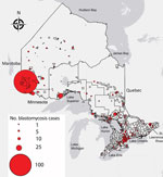 Thumbnail of Geographic distribution of blastomycosis cases with known patient city and forward sortation area (first 3 characters of postal code) (n = 544) in Ontario, 1995–2015. Size of dot is proportional to number of cases at a given location.