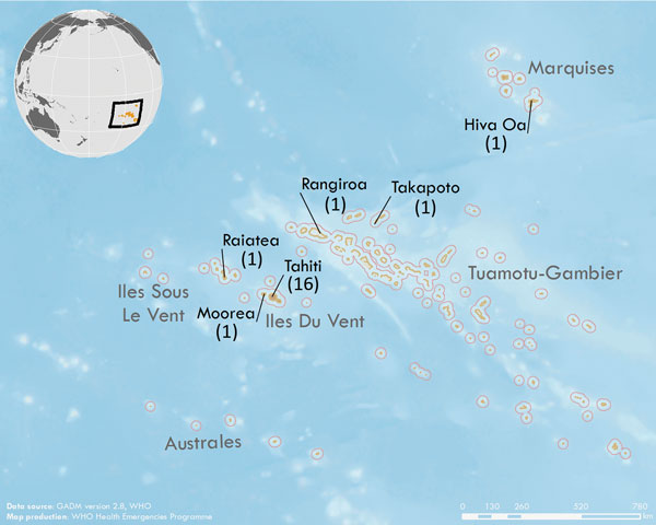 Geographic distribution of Zika virus cases in study of Zika virus infection during pregnancy and early childhood development, French Polynesia, 2013–2016. Black text indicates islands with >1 case (number of cases from each island is in parentheses); gray text indicates names of archipelagoes. Inset shows the location of French Polynesia in the Pacific Ocean. Data source: GADM version 2.8 (https://gadm.org/download_country_v2.html). Map production: World Health Organization Health Emergencie