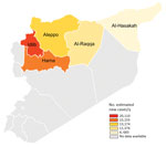 Thumbnail of Target region for leishmaniasis control programs in northern Syria (color shading) and the number of estimated new cases of cutaneous leishmaniasis per year by province in this region.