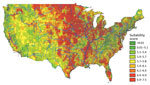 Thumbnail of Mean Histoplasma site suitability score by US ZIP code. Red reflects greater histoplasmosis suitability; green reflects less suitability. The weighted mean score (Table) was calculated for each ZIP code. Data for geographic regions west of the Rocky Mountains are considered insufficient because of limited surface water data.