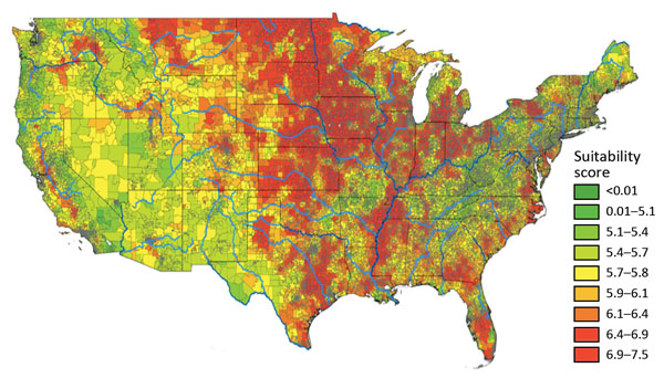 Map of the United States showing the results of statistical modeling that estimates where Histoplasma might be most likely to live, by zip code. High suitability scores occurred throughout the Midwest Census region.