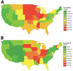 Thumbnail of State-level suitability score compared with histoplasmosis incidence rates, United States. A) State-level suitability score map. B) State-level histoplasmosis incidence rates for 1999–2008 US Medicare and Medicaid data (no. cases/100,000 person-years).