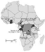 Thumbnail of Numbers of serum samples collected from Ghana, Cameroon, Republic of the Congo, DRC, and Uganda in study of serologic prevalence of Ebola virus in equatorial Africa. DRC, Democratic Republic of the Congo.