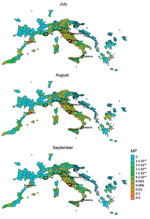 Thumbnail of MP estimates from the Lazio region, Italy, to areas in Europe with stable populations of Aedes albopictus mosquitoes, July–September 2017. Heavy outlines indicate the outbreak areas. MP, mobility proximity.