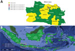 Thumbnail of Locations of sampling areas and of different hemagglutinin (HA) clades in study of avian influenza A(H5N1) viruses circulating in Indonesia, 2015–2016. A) West Java Province; B) location of province in Indonesia (box). Data were compiled from this study and additional sequence data of Directorate General for Livestock Services, the Indonesian Ministry of Agriculture, and submitted to GenBank (accession nos. EPI1009273–463).