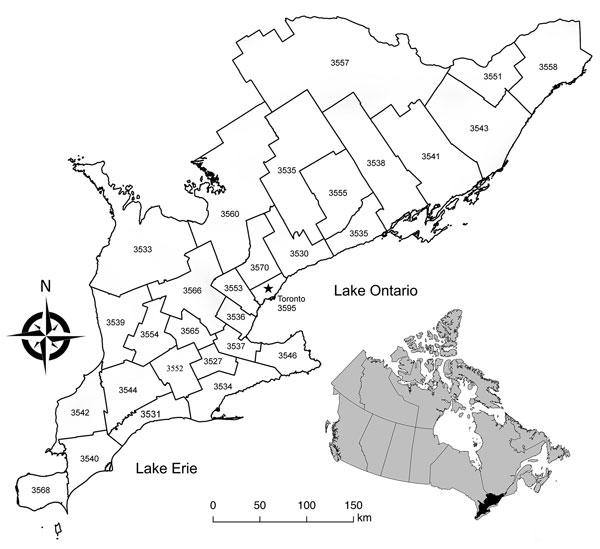 Map of the 29 southern Ontario public health units' boundaries and corresponding identification numbers (see Table). Inset shows location of southern Ontario within Canada.