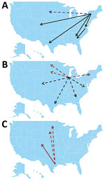 Thumbnail of Summary of source/sink analysis in study of terrestrial bird migration and West Nile virus circulation, United States. Minimum number of migration events detected from A) the Eastern flyway, B) Illinois, and C) the Central flyway. Only events that occurred at least twice are depicted. Red arrows, northward migration; black arrows, southward migration; green arrow, lateral migration; dotted arrows, migration that could not be confirmed by incident-controlled downsampling because of a