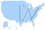 Thumbnail of Model summarizing the general patterns of West Nile virus movement in the United States. Red, northward movement; teal, southward movement; dotted arrows, relationships that could not be confirmed in incident-controlled datasets because of an insufficient number of sequences.