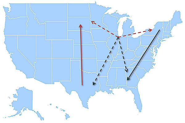 Model summarizing the general patterns of West Nile virus movement in the United States. Red, northward movement; teal, southward movement; dotted arrows, relationships that could not be confirmed in incident-controlled datasets because of an insufficient number of sequences.
