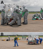 Thumbnail of The Deployable Air Isolator Team lead, a senior infection and prevention control nurse, is responsible for overseeing the preparation of the Air Transportable Isolator patient transport system on the ground (A), the transfer of the patient into the isolator, and the safe transfer of the patient onto the aircraft by the main team while the reconnaissance team performs their decontamination drills (B).