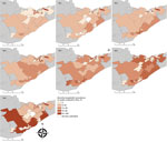 Thumbnail of Annual prevalence of Borrelia burgdorferi in Ixodes scapularis ticks from passive tick surveillance, based on forward sortation area of tick submitter, 3 public health units, eastern Ontario, Canada, 2010–2016.