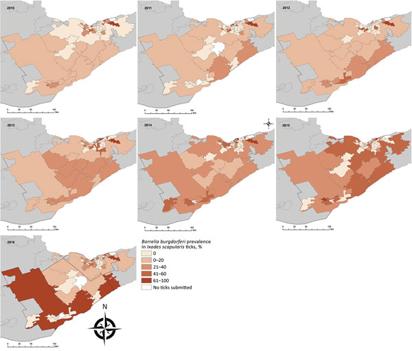 Annual prevalence of Borrelia burgdorferi in Ixodes scapularis ticks from passive tick surveillance, based on forward sortation area of tick submitter, 3 public health units, eastern Ontario, Canada, 2010–2016.