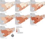 Thumbnail of Spatiotemporal spread of human Lyme disease incidence, 3 public health units, eastern Ontario, Canada, 2010–2016. Annual Lyme disease incidence estimated from notifiable disease surveillance and population data based on forward sortation area of patient residence.