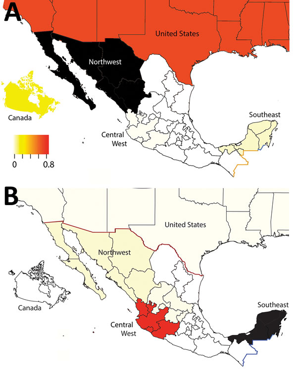 Sources of influenza A viruses circulating in swine in northwestern and southeastern Mexico. Each region is shaded according to the proportion of total Markov jump counts from that particular region (source) into A) northwest or B) southeast regions of Mexico (destination). Red indicates high proportion of jumps (major source of viruses); light yellow indicates low proportion of jumps (not a major source of viruses); black indicates destination; white indicates no jumps/no data available. Seven