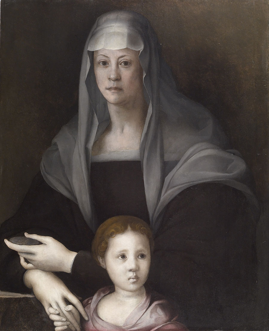 Portrait of Maria Salviati and Giulia de' Medici depicted by Pontormo (Jacopo Carucci) in 1537 c. Oil on panel. 34.65 × 28.07 in. (88 × 71.3 × 1 cm). (The Walters Art Museum, Baltimore.)