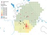 Thumbnail of Map of the norrmalized measure of risk for Legionnaires' disease, Boxtel, the Netherlands, October 2016–December 2017. Results are based on case-patients living in Boxtel who constituted the clusters occurring in 2016 and 2017 (n = 11). Red dots indicate the residential address (postal code) of case-patients. A hotspot is an area with a measure of risk >0.9. Gray dots indicate Legionnaires' disease cases in nonresidents; these cases are not included in the model. Black triangles