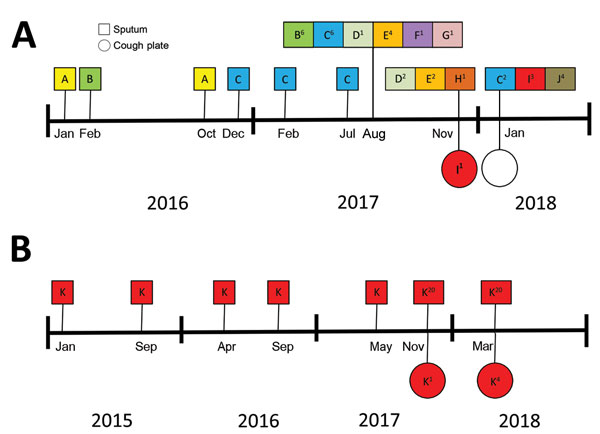 Genotyping results of Aspergillus fumigatus isolates in sputum cultures and on cough plates obtained from 2 participants with cystic fibrosis demonstrating aerosol formation of A. fumigatus, the Netherlands, 2015–2018. For samples collected after August 2017, a maximum of 20 isolates per sputum culture were saved. For samples collected earlier, only 1 sputum sample isolate was saved. Genotypes of the isolates collected from patient 4 (A) and 15 (B) are indicated. The superscript number indicates