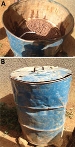Thumbnail of Wood-fired steaming barrel from a healthcare center in the highlands of Ethiopia that is used to kill clothes lice and their eggs during outbreaks of louseborne relapsing fever. A) Top view; B) front view showing lid. This 200-L barrel is modeled on the Stammers Serbian barrels.
