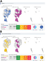 Thumbnail of Screenshots of maps and alerts generated by the World Health Organization Early Warning, Alert and Response System during week 1, January 2018, in Rohingya refugee settlements in Cox's Bazar, Bangladesh. A) Measles; B) acute jaundice syndrome.