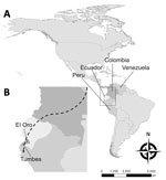Thumbnail of Probable migration route of imported malaria cases described in study of effects of political instability in Venezuela on malaria resurgence at the Ecuador–Peru Border, 2018. A) Locations of the 4 countries along the migration route in South America; B) El Oro Province and Tumbes Region on the Ecuador–Peru border. The city of Huaquillas, Ecuador, is 70 km southwest of Machala, the location of the single autochthonous malaria case in this country. Huaquillas is the primary border cro