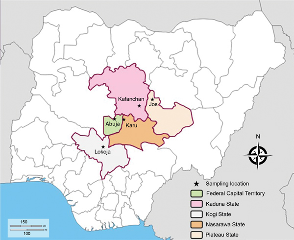 Sampling site locations in study of genetic diversity of Plasmodium falciparum spp., North Central Nigeria, 2015–2018. The Jabi region was the sampling site in Abuja.