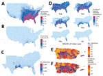 Thumbnail of County-level Zika virus risk profiling, United States including Puerto Rico. A) Probability of initial transmission from an index case introduced during peak vector abundance, calculated as the proportion of simulations with >1 transmission event, for every county. B) Proportion of population infected. C) Total case counts for the southeastern United States (nationwide data depicted in Appendix Figure 6) when transmission does occur after index cases during peak abundance (median
