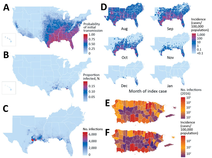 County-level Zika virus risk profiling, United States including Puerto Rico. A) Probability of initial transmission from an index case introduced during peak vector abundance, calculated as the proportion of simulations with >1 transmission event, for every county. B) Proportion of population infected. C) Total case counts for the southeastern United States (nationwide data depicted in Appendix Figure 6) when transmission does occur after index cases during peak abundance (median calculated a