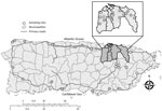 Thumbnail of Locations of Aedes aegypti egg collections for insecticide resistance testing, Puerto Rico, 2016. Municipalities or barrios: 1, Caguas, Condado Moderno; 2, Caguas, Urb Idamaris Garden; 3, Caguas, Villa Blanca; 4, Caguas, Villa de Castro; 5, Canóvanas; 6, Fajardo; 7, Humacao; 8, Juncos; 9, Bayamón; 10, Bayamón, Irlanda; 11, Bayamón, Pájaros; 12, Bayamón, Teresita; 13, Carolina, El Comandante; 14, Carolina, Los Colobos; 15, Carolina, Villa Carolina; 16, Carolina, Vistamar; 17, Cataño;