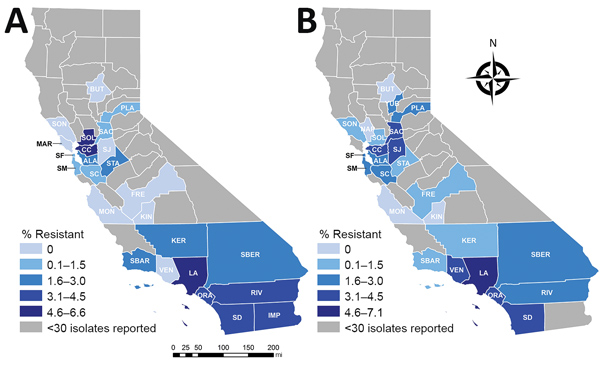 Geographic distribution of carbapenem resistance among Enterobacteriaceae reported in healthcare-associated infections by hospitals, aggregated by county, California, 2014–2015 (A) and 2016–2017 (B). ALA, Alameda; BUT, Butte; CC, Contra Costa; FRE, Fresno; IMP, Imperial; KER, Kern; KIN, Kings; LA, Los Angeles; MAR, Marin; MON, Monterey; NAP, Napa; ORA, Orange; PLA, Placer; RIV, Riverside; SAC, Sacramento; SBER, San Bernardino; SD, San Diego; SF, San Francisco; SJ, San Joaquin; SM, San Mateo; SBA