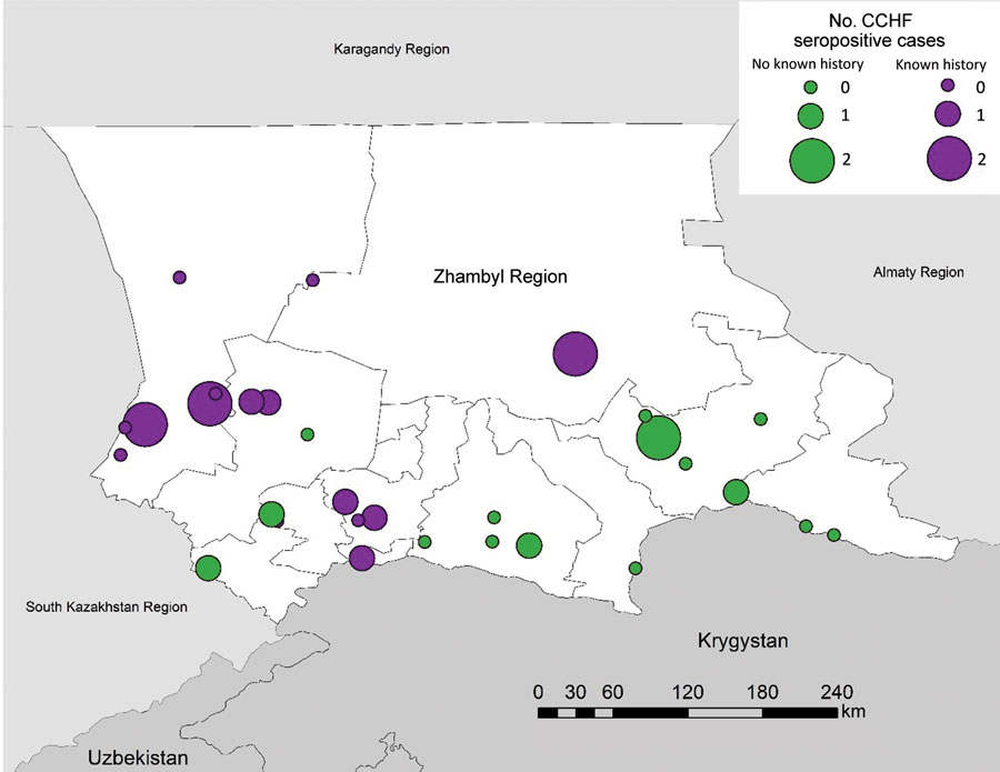 Number of CCHF-seropositive cases in villages included in serologic survey for tickborne diseases, Zhambyl Region, Kazakhstan. Circle size denotes the number of IgG antibody–positive serology results indicating past exposure or IgM antibody–positive serology results indicating recent exposure to CCHF. Purple circles indicate that the village had previous known history of CCHF; green circles indicate the village had no known history of CCHF. CCHF, Crimean-Congo hemorrhagic fever.