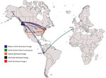 Thumbnail of Transcontinental spread of Vibrio parahaemolyticus sequence type 36, North America, Peru, and Spain, 1985–2016. Timeline was estimated by using BEAST (Bayesian evolutionary analysis by sampling trees). Years on map indicate the inferred dates of arrival of V. parahaemolyticus sequence type 36 to that country. Old Pacific Northwest is the ancestral population (last strain identified in 2002) of the Pacific Northwest lineage complex, which also includes the modern (i.e., currently cir