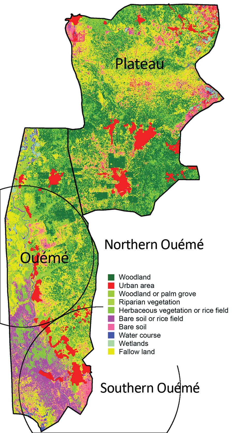 Land use and land cover assessment from Sentinel-2 imaging of Benin. The Ouémé region has specific land and plant formations, such as grassy savanna, grasslands, and swamps. Soils easily become saturated with water because of a shallow water table and the proximity of a river, which causes floods and a natural delta formation in the south of the region. Circles indicate the detected northern and southern Ouémé Mycobacterium ulcerans clusters.