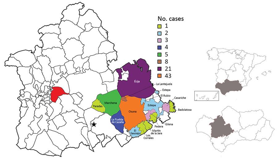 Geographic distribution of tick-borne relapsing fever cases, Spain, 1994–2016. Red indicates city of Seville; star indicates Morón de la Frontera meteorological station. Inset maps show locations of southwestern Spain and Seville Province (gray shading).