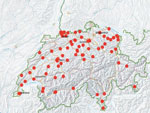 Thumbnail of Distribution of centers participating in a prevelance study comparing molecular and toxin assays for nationwide surveillance of Clostridioides difficile, Switzerland. Red circles represent location of participating centers.