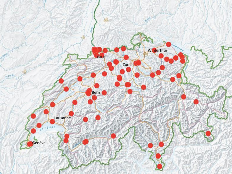 Distribution of centers participating in a prevelance study comparing molecular and toxin assays for nationwide surveillance of Clostridioides difficile, Switzerland. Red circles represent location of participating centers.