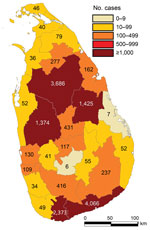 Thumbnail of Reported leishmaniasis cases by district, Sri Lanka, 2001–2018.