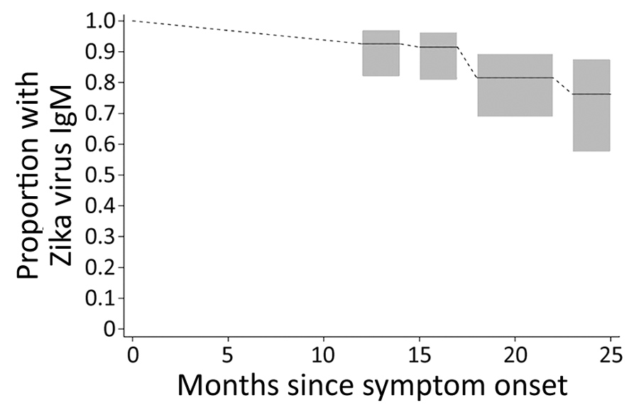 Estimated proportion of persons with detectable Zika virus IgM up to 25 months after symptom onset among persons with PCR-confirmed Zika virus disease, Miami-Dade County, Florida, USA. Detectable Zika virus IgM was defined as a positive or equivocal result on IgM capture ELISA. Interval-censored nonparametric survival analysis probability estimates and 95% CIs (gray boxes) are shown.