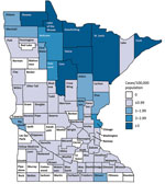 Thumbnail of Average annual incidence of blastomycosis by county, Minnesota, USA, 1999–2018.