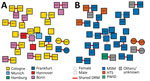 Thumbnail of Presence of drug resistance mutations by location (A) and by risk factor (B) for 1,397 patients with HIV, Germany, 2001–2018. DRM, drug resistance mutation; HTS, heterosexual; MSM, men who have sex with men; NNRTI, nonnucleoside reverse transcriptase inhibitor; NRTI, nucleoside reverse transcriptase inhibitor; PWID, persons who inject drugs.